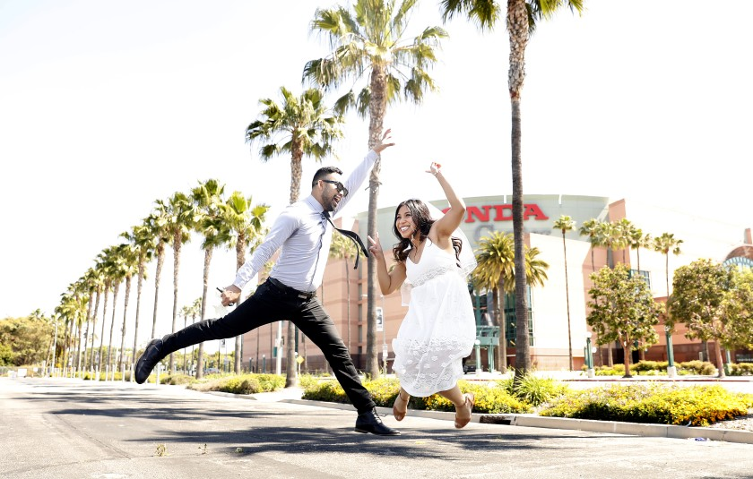 Russel and Kathleen Sion of Torrance were married at the Honda Center in Anaheim, where the Orange County clerk recorder is holding weddings and issuing licenses. (Christina House / Los Angeles Times)