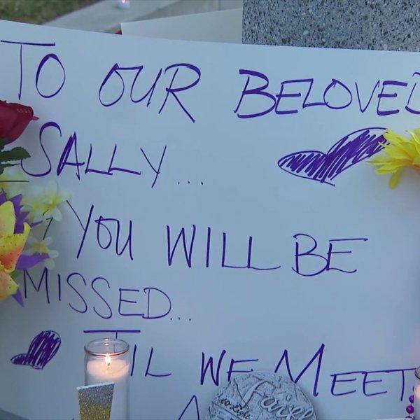A vigil was held at Riverside Community Hospital for Sally Lara on June 25, 2020. (KTLA)