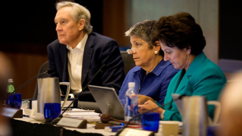 UC Regent George Kieffer, left, is seen in an undated photo. He was cleared of allegations on June 8, 2020, that he repeatedly squeezed her thigh of a female graduate student, a university statement said.(Gina Ferazzi / Los Angeles Times)