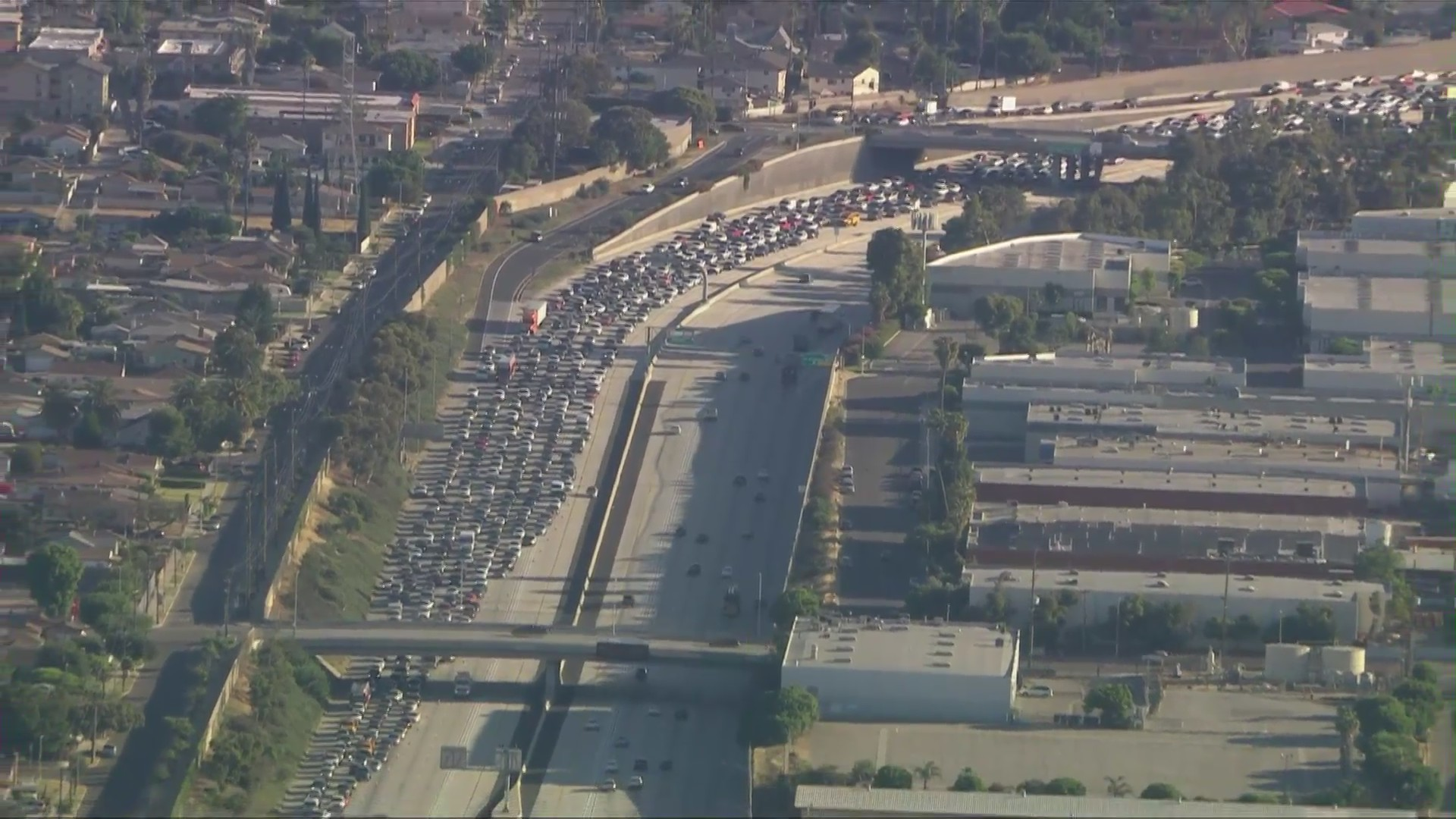 Traffic is backed up for miles on the southbound 110 Freeway in the Gardena area on June 10, 2020. (Sky5)