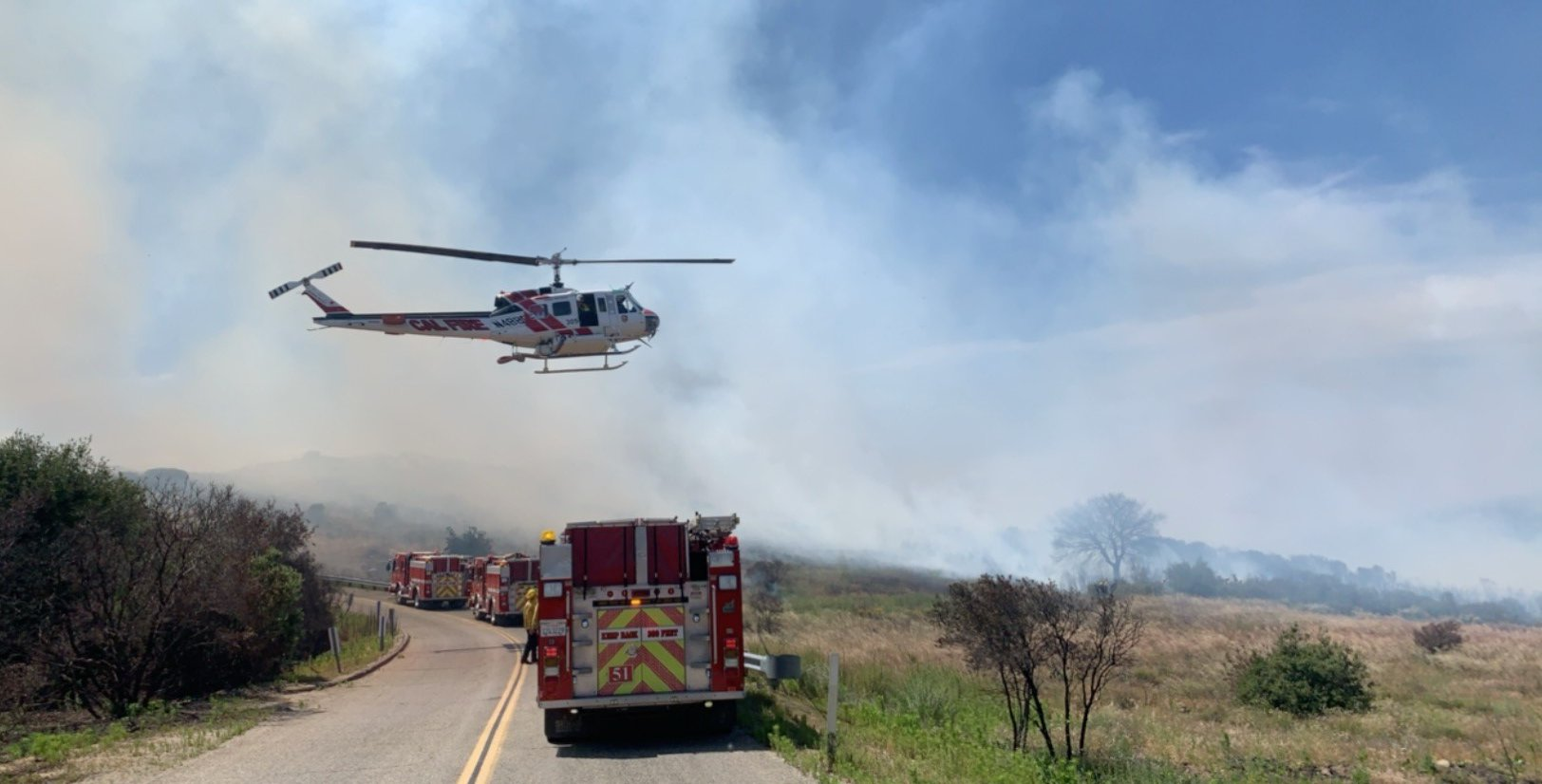 Firefighters were battling the Grand Fire in Lake Elsinore on June 8, 2020. (Cal Fire/Riverside County Fire Department)