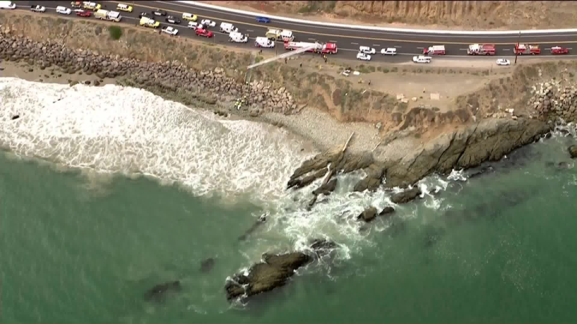 3 people died after being washed into the ocean in Point Mugu on June, 25, 2020. (KTLA)