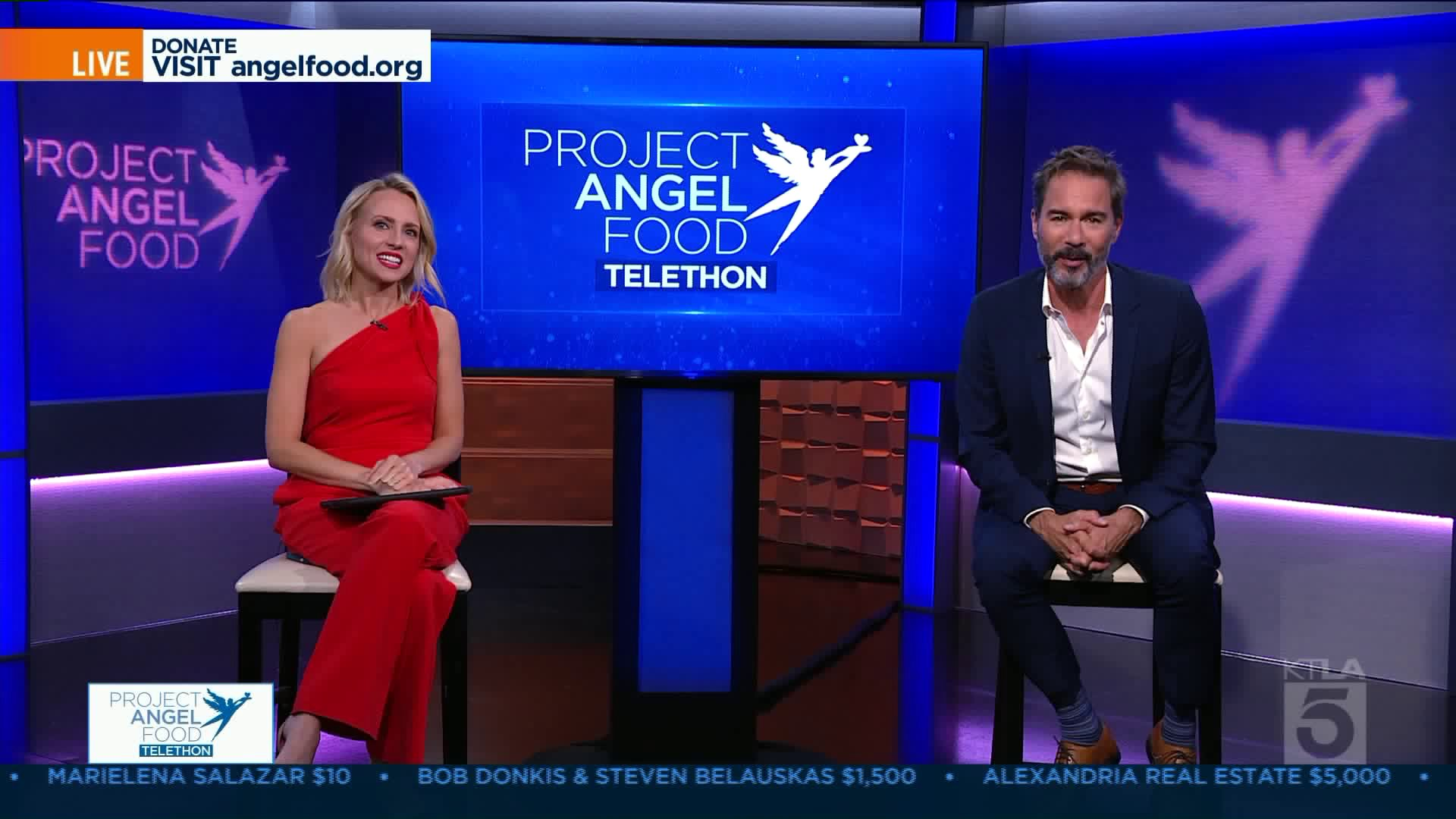 KTLA's Jessica Holmes and actor Eric McCormack hosted the Project Angel Food Telethon on June 27, 2020. (KTLA)