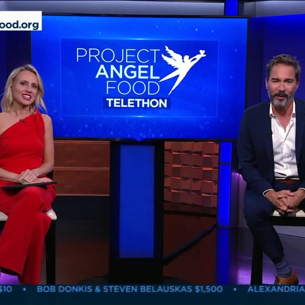 KTLA's Jessica Holmes and actor Eric McCormack hosted the Project Angel Food Telethon on June 27, 2020. (KTLA)