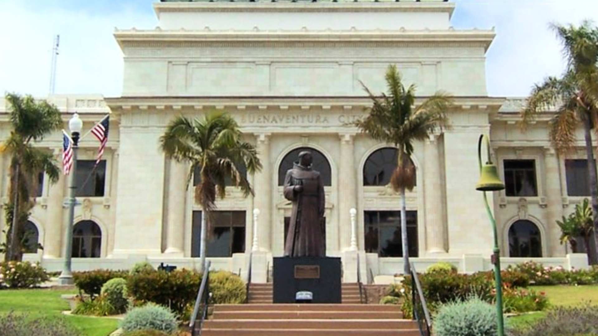 The statue of Junipero Serra is seen in front of Ventura City Hall in this undated photo shared by the city. Junipero Serra's mission system in California was responsible for the destruction of several tribes, often through the introduction of foreign diseases. Tribes that did survive, such as the Chumash, still suffered greatly and were often forced into building the missions.