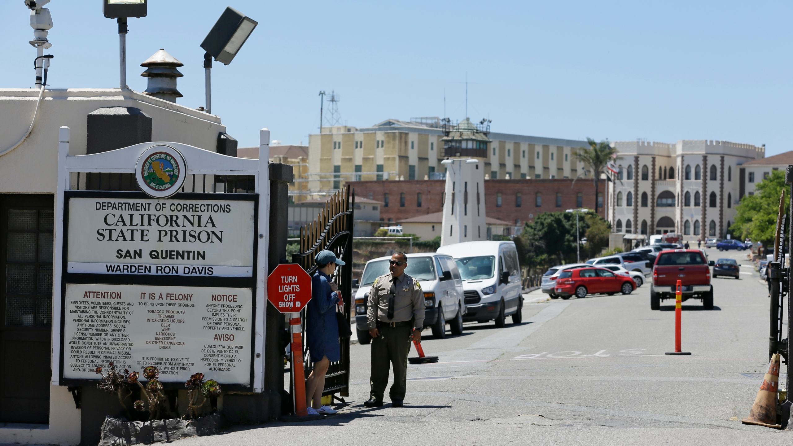In this photo taken Wednesday, July 24, 2019, is the main entryway leading into San Quentin State Prison in San Quentin, Calif. (AP Photo/Eric Risberg)
