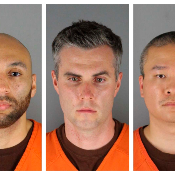 This combination of photos provided by the Hennepin County Sheriff's Office in Minnesota on Wednesday, June 3, 2020, shows J. Alexander Kueng, from left, Thomas Lane and Tou Thao. They have been charged with aiding and abetting Derek Chauvin, who is charged with second-degree murder of George Floyd, a black man who died after being restrained by the Minneapolis police officers on May 25. (Hennepin County Sheriff's Office via CNN)