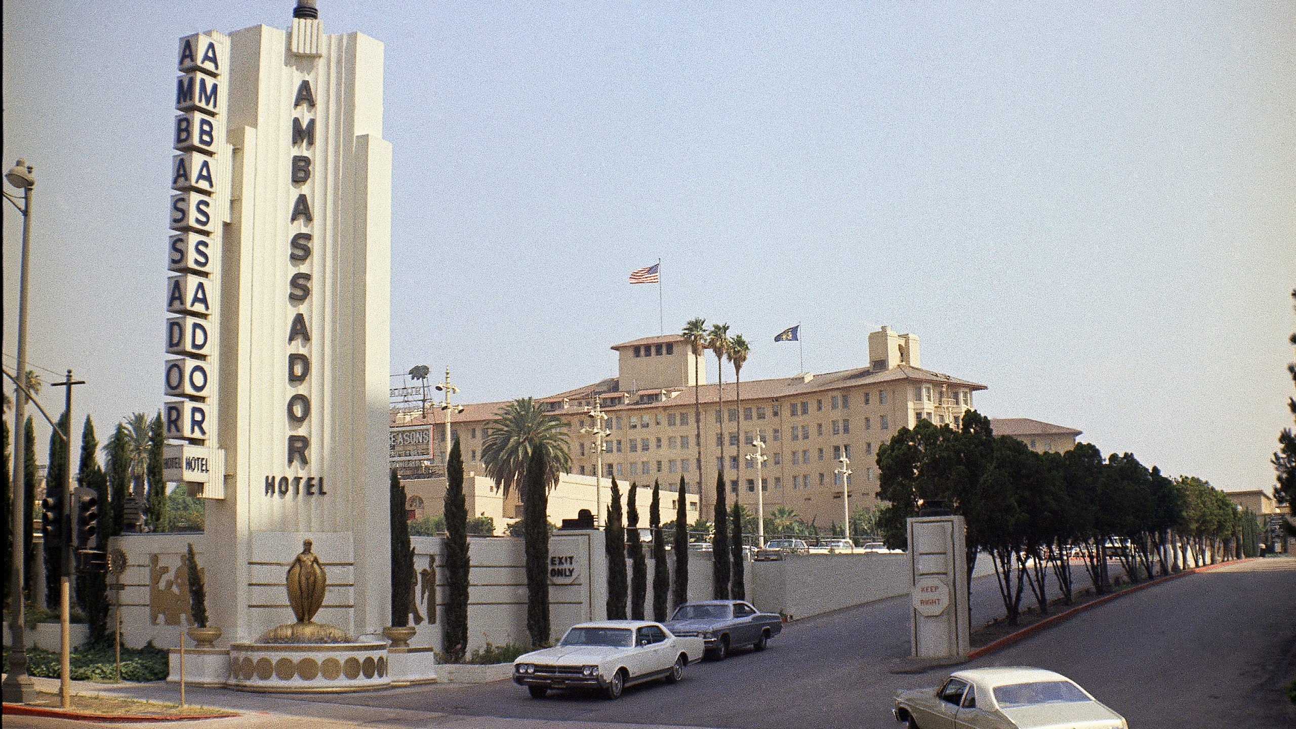 This June 28, 1968, shows the main entrance to the Ambassador Hotel in Los Angeles, where presidents slept, Robert Kennedy was assassinated in 1968 and Mary Pickford collected her Oscar for best actress in 1930 and now the site of a public-school complex. Opened in 1921 and designed by Myron Hunt, with later renovations by African American architect Paul Revere Williams, the Ambassador Hotel was one of Los Angeles' defining historic sites. (AP Photo/David F. Smith, File)