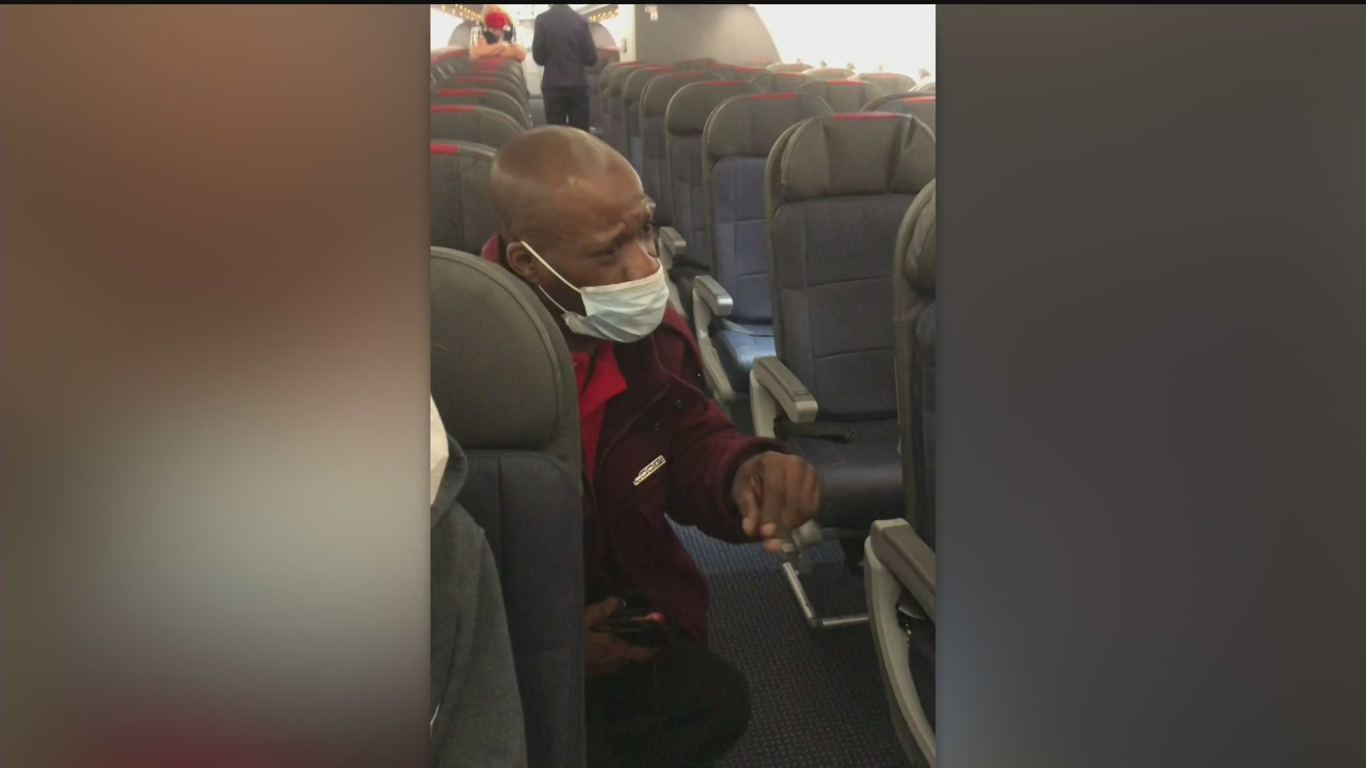 Six passengers were ordered off an American Airlines flight over what they claim was racial discrimination on May 31, as pictured in this image obtained by KTLA.