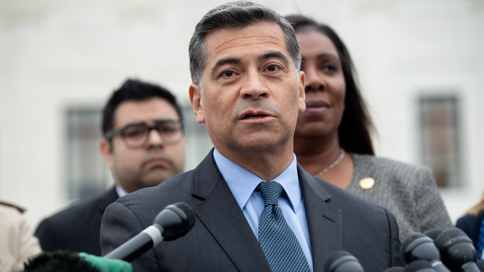 California Attorney General Xavier Becerra speaks following arguments about ending the Deferred Action for Childhood Arrivals program outside the US Supreme Court in Washington, D.C., November 12, 2019 (Saul Loeb/AFP/Getty Images)