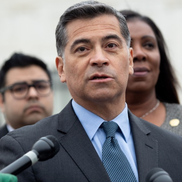 California Attorney General Xavier Becerra speaks following arguments about ending the Deferred Action for Childhood Arrivals program outside the U.S. Supreme Court on Nov. 12, 2019. (Saul Loeb / AFP / Getty Images)
