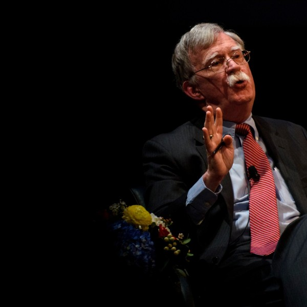 "Former National Security Advisor John Bolton discusses the ""current threats to national security"" during a forum moderated by Peter Feaver, the director of Duke's American Grand Strategy, at the Page Auditorium on the campus of Duke University on February 17, 2020 in Durham, North Carolina. (Melissa Sue Gerrits/Getty Images)"