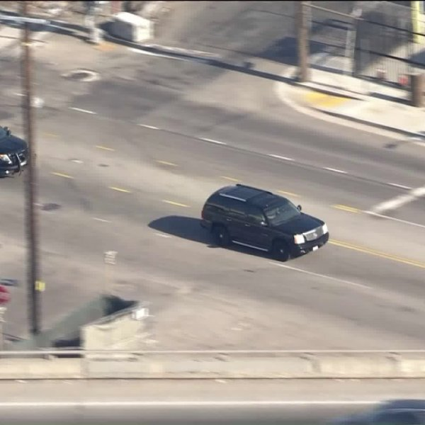 Authorities were pursuing a driver in the Southeast L.A. area on June 16, 2020. (KTLA)