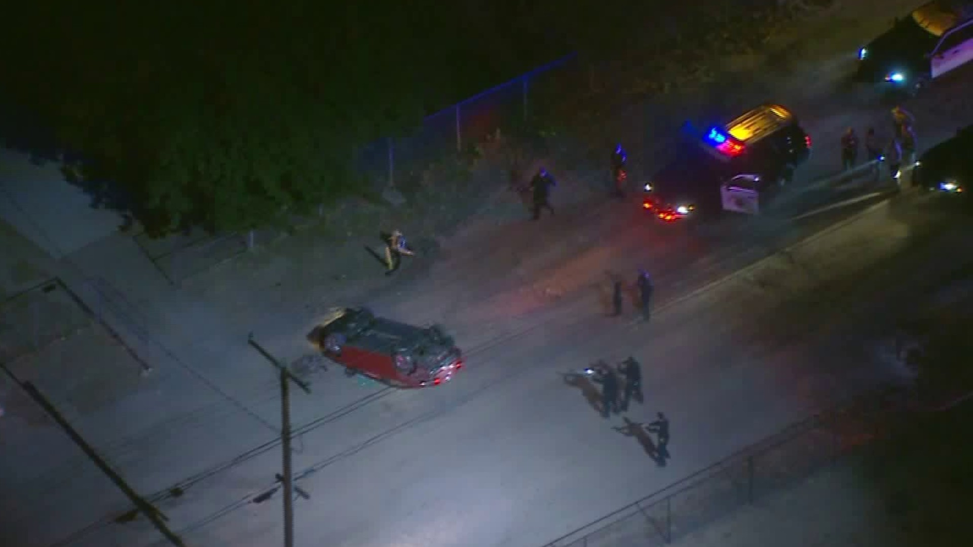 A pursuit that began in the West Los Angeles-area ended with a rollover crash in Lancaster on June 6, 2020. (KTLA)