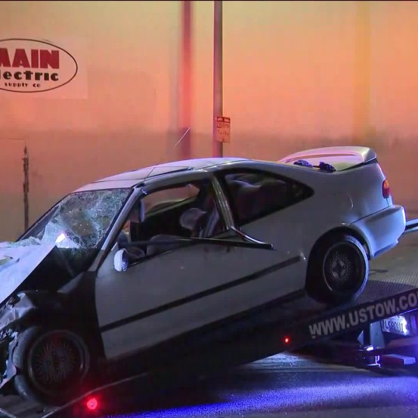 Eight people were injured, three of them critically, in a two-car crash in South Los Angeles on June 13, 2020. (KTLA)