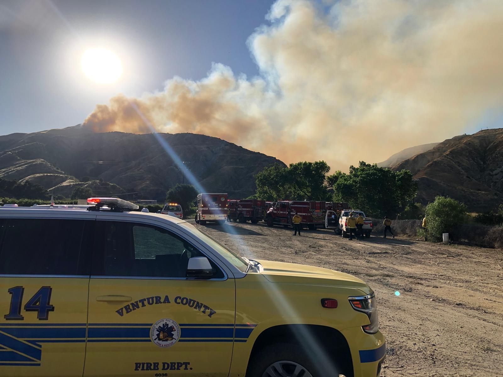Smoke billows as the Lime Fire burns near Lake Piru on June 13, 2020. (Ventura County Fire Department)