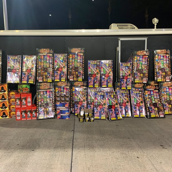 Illegal fireworks confiscated by Santa Ana police are seen in an undated photo shared by the department on June 26, 2020.