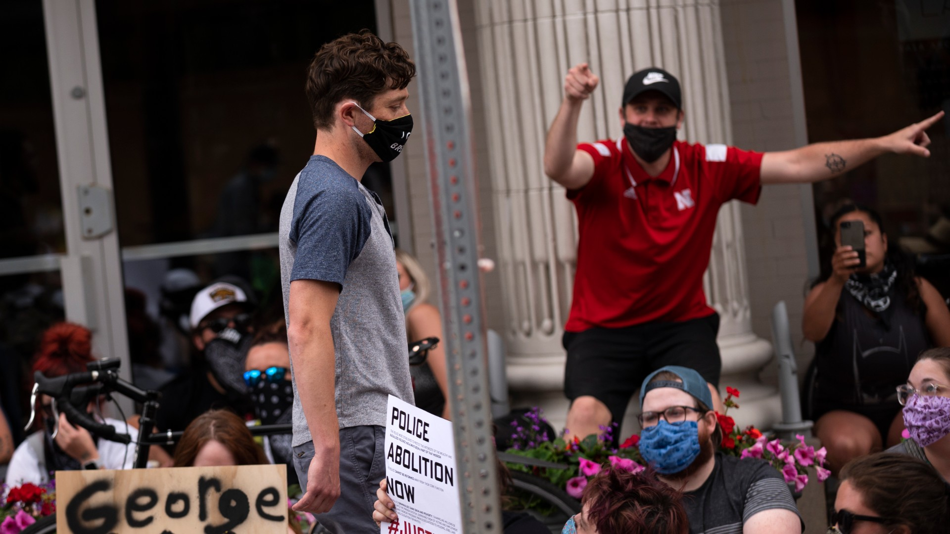 Minneapolis Mayor Jacob Frey leaves a demonstration calling for the Minneapolis Police Department to be defunded on June 6, 2020 in Minneapolis, Minnesota. Mayor Frey declined when he was asked if he would fully defund the police and was then asked to leave the protest. (Stephen Maturen/Getty Images)