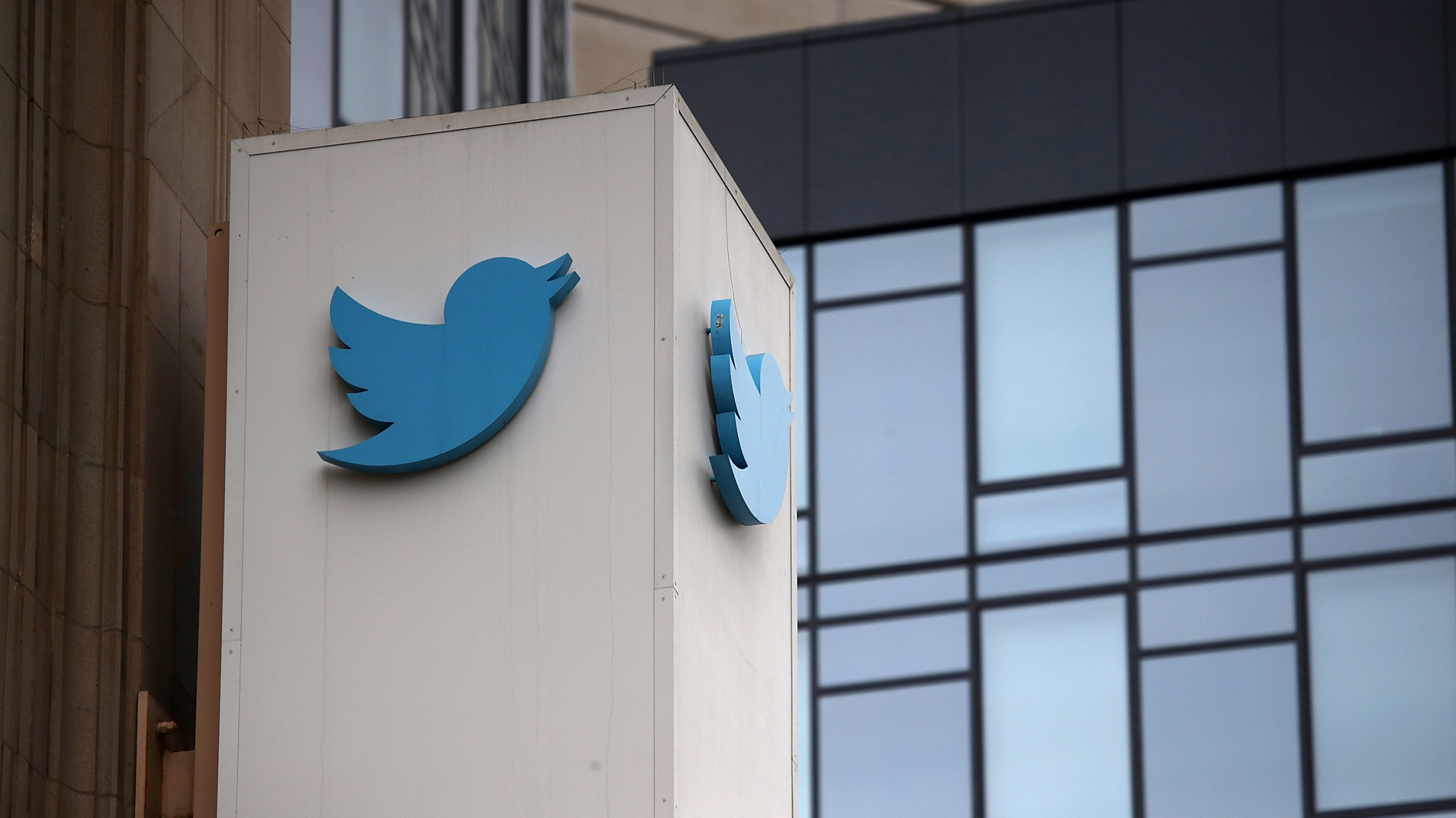 A sign is posted on the exterior of Twitter headquarters on July 26, 2018, in San Francisco. (Justin Sullivan/Getty Images