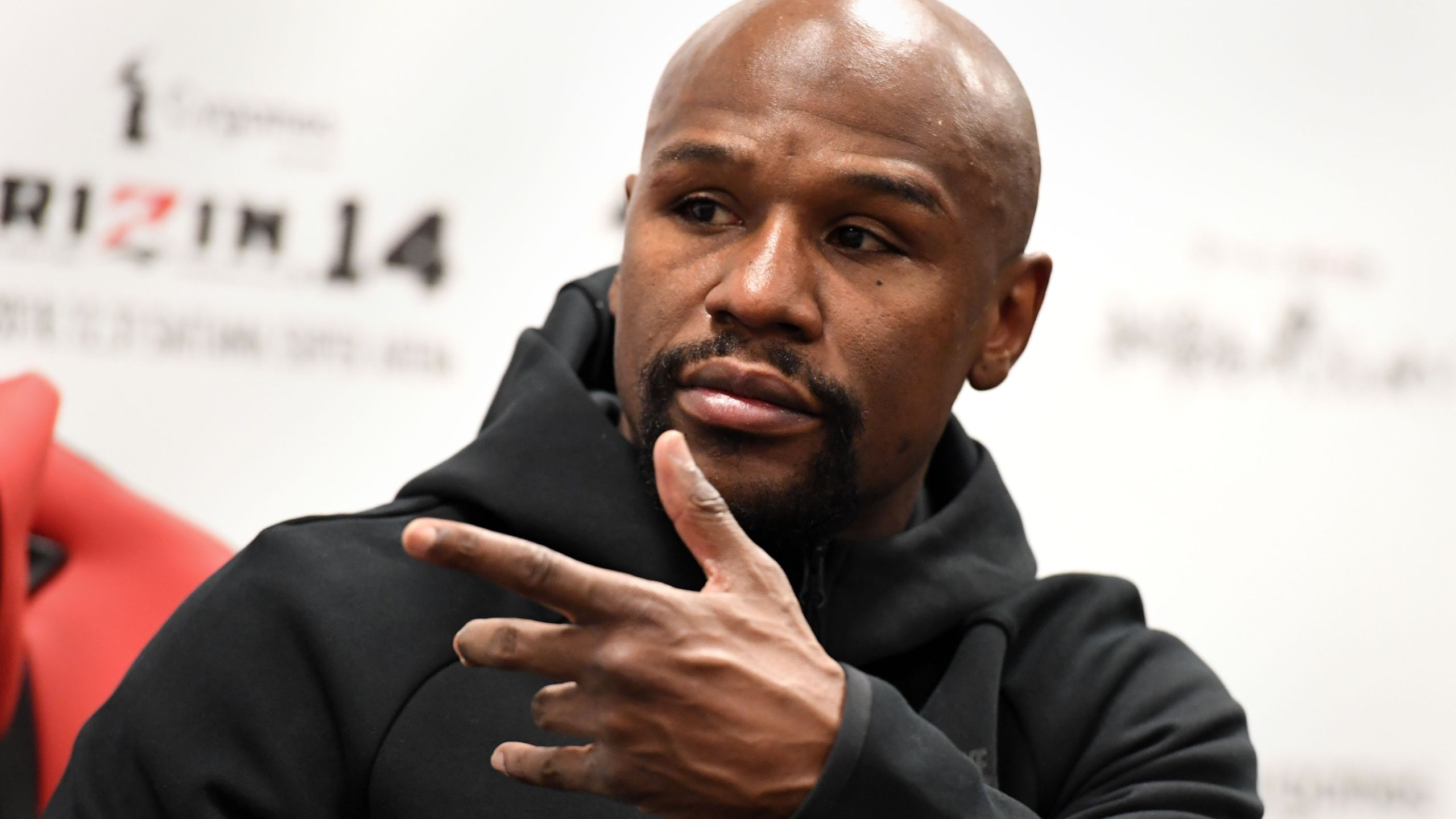 U.S. boxing legend Floyd Mayweather Jr gestures during his press conference after winning the exhibition fight against Kickboxer Tenshin Nasukawa on Dec. 31, 2018. (TOSHIFUMI KITAMURA/AFP via Getty Images)