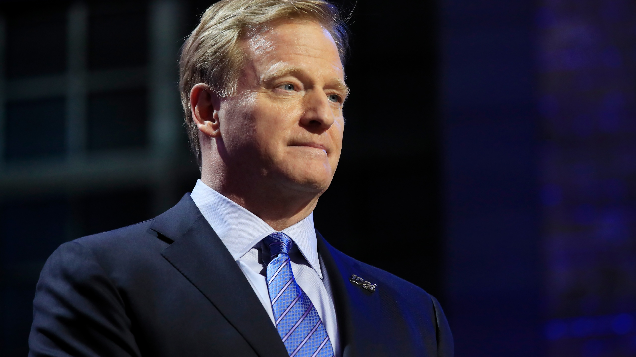 NFL Commissioner Roger Goodell speaks during the first round of the draft on April 25, 2019, in Nashville, Tennessee. (Andy Lyons / Getty Images)