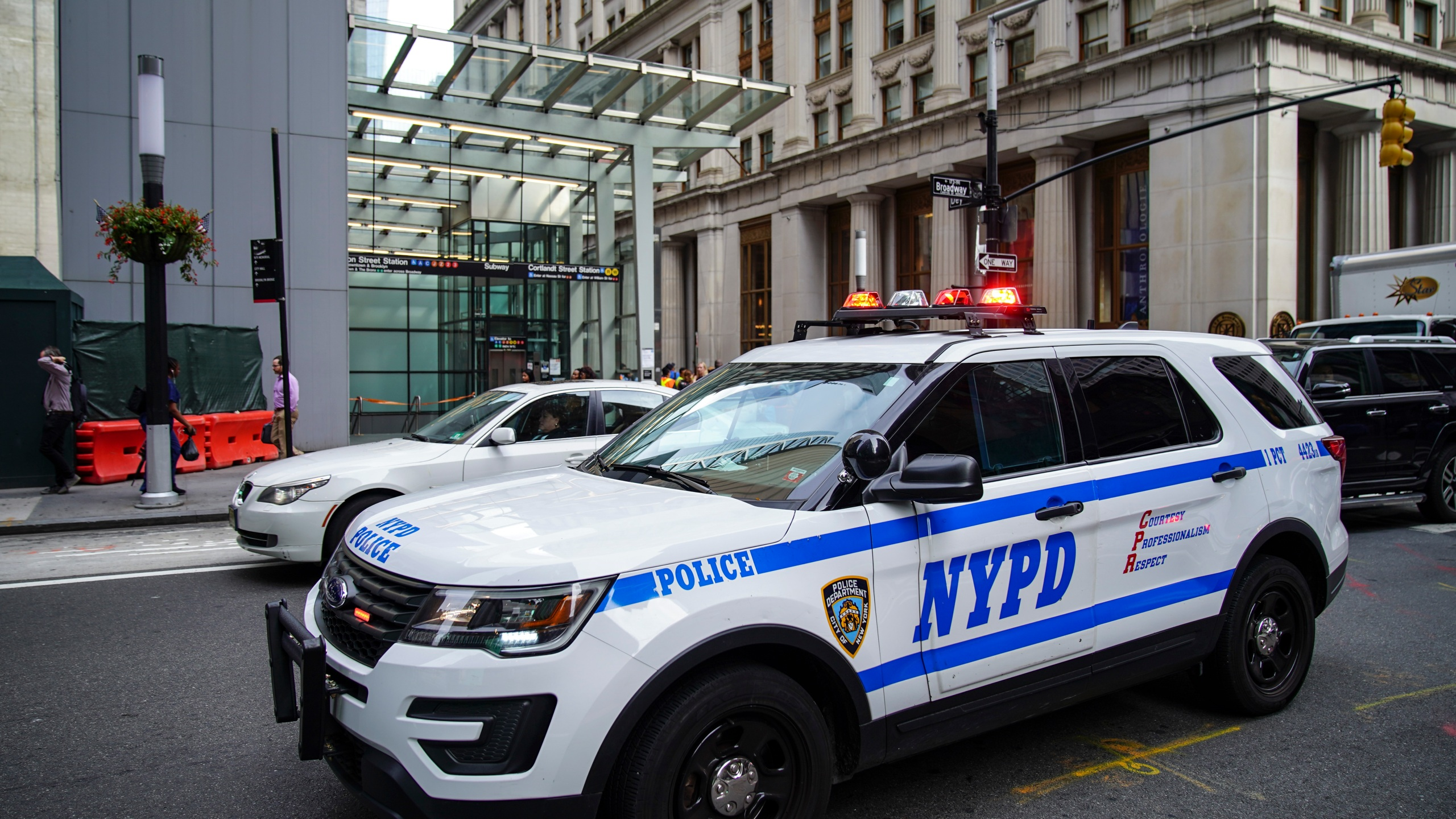 NYPD police vehicles are seen in Lower Manhattan on August 16, 2019, in New York City. (Drew Angerer/Getty Images)