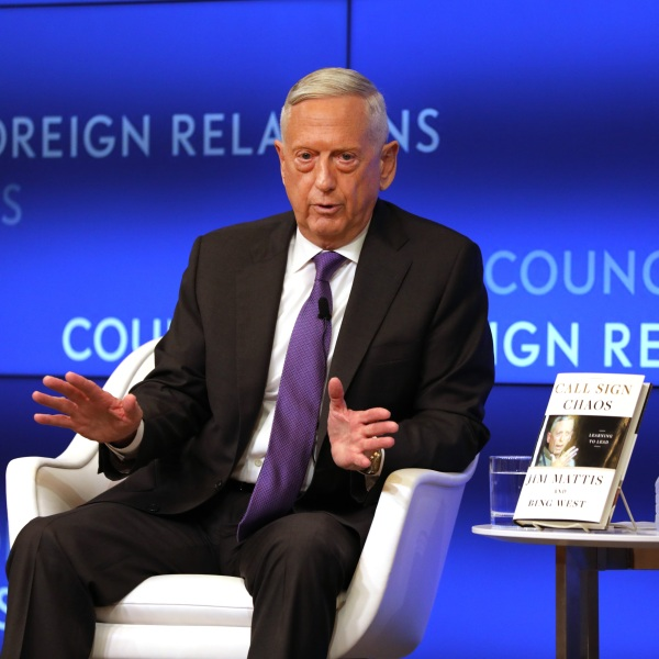 Former Defense Secretary General James Mattis speaks with Richard Haass at The Council on Foreign Relations on Sept. 3, 2019 in New York City. (Spencer Platt/Getty Images)