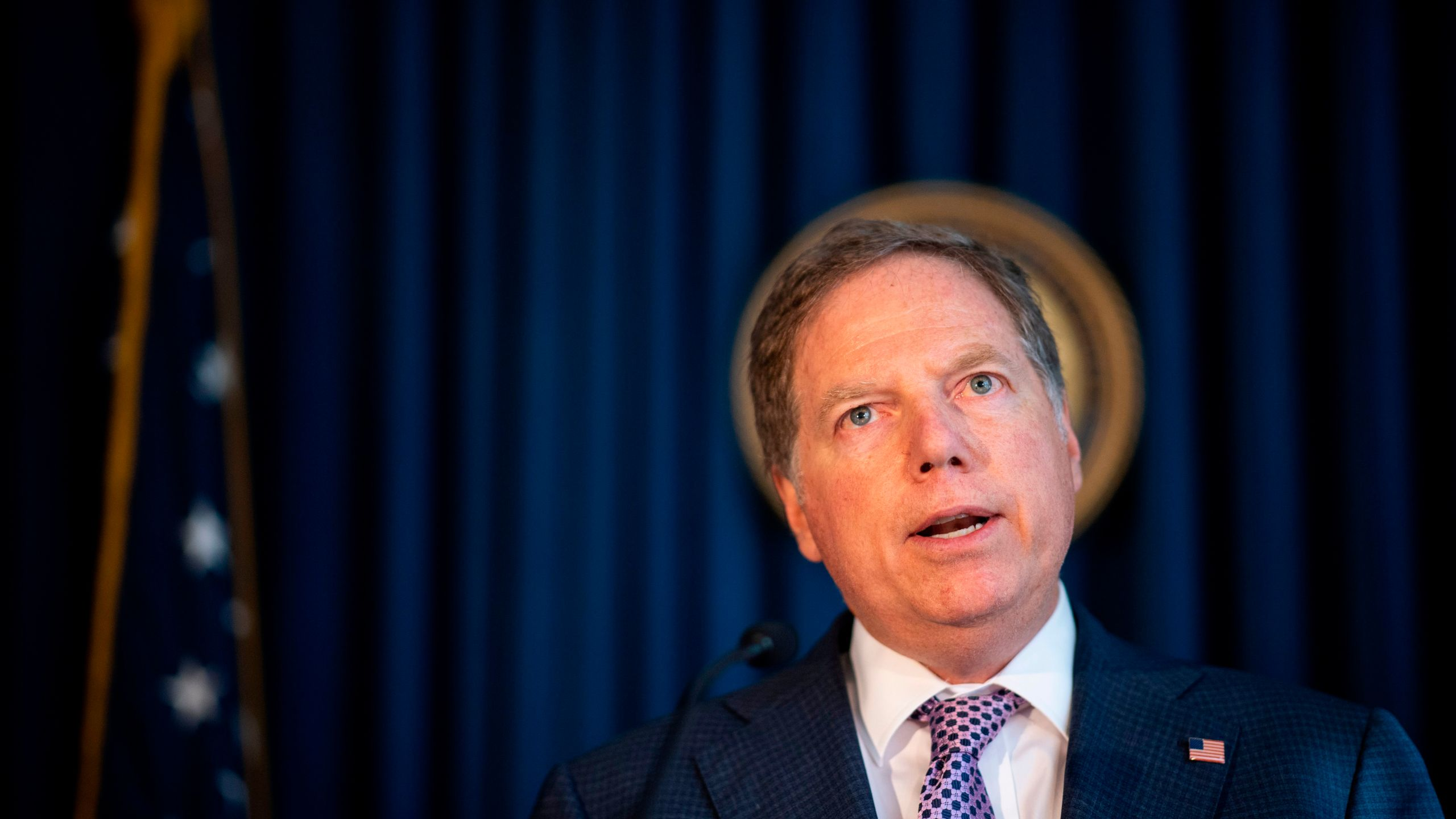 U.S. Attorney for the Southern District of New York Geoffrey Berman speaks during a press conference on Oct. 10, 2019 in New York City. (JOHANNES EISELE/AFP via Getty Images)