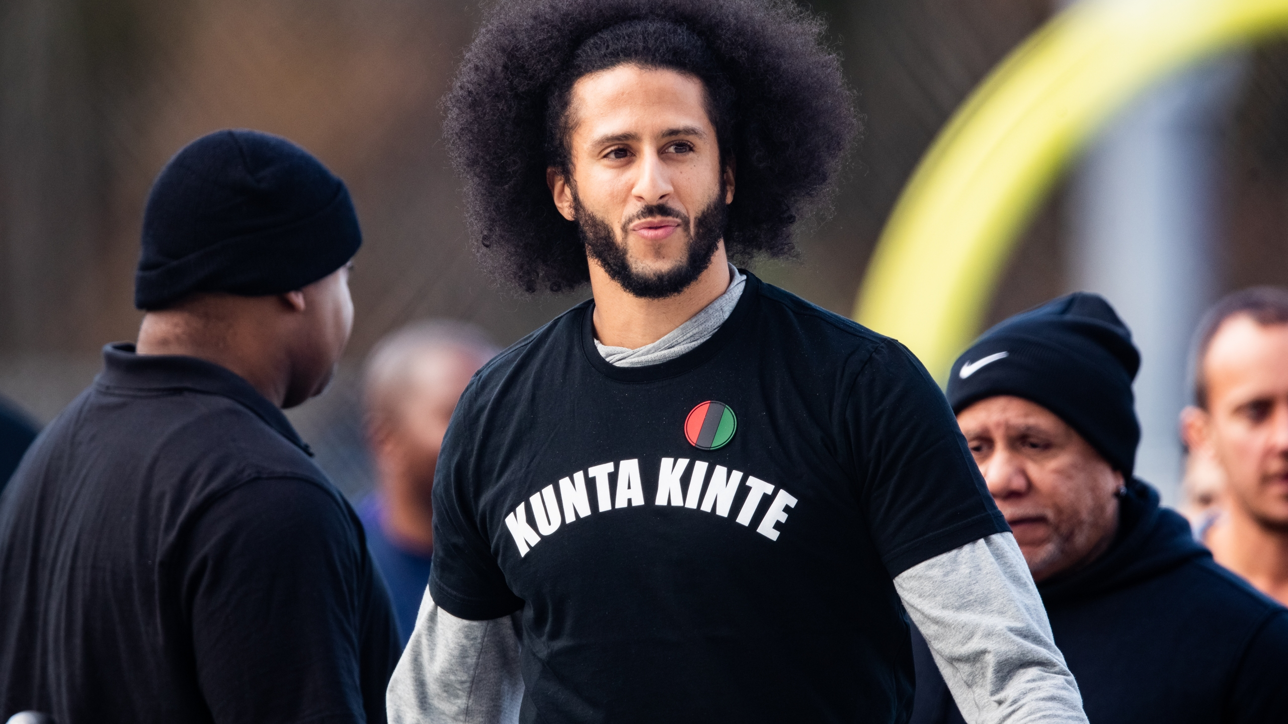 Colin Kaepernick looks on during an NFL workout in Riverdale, Georgia, on Nov. 16, 2019. (Carmen Mandato / Getty Images)