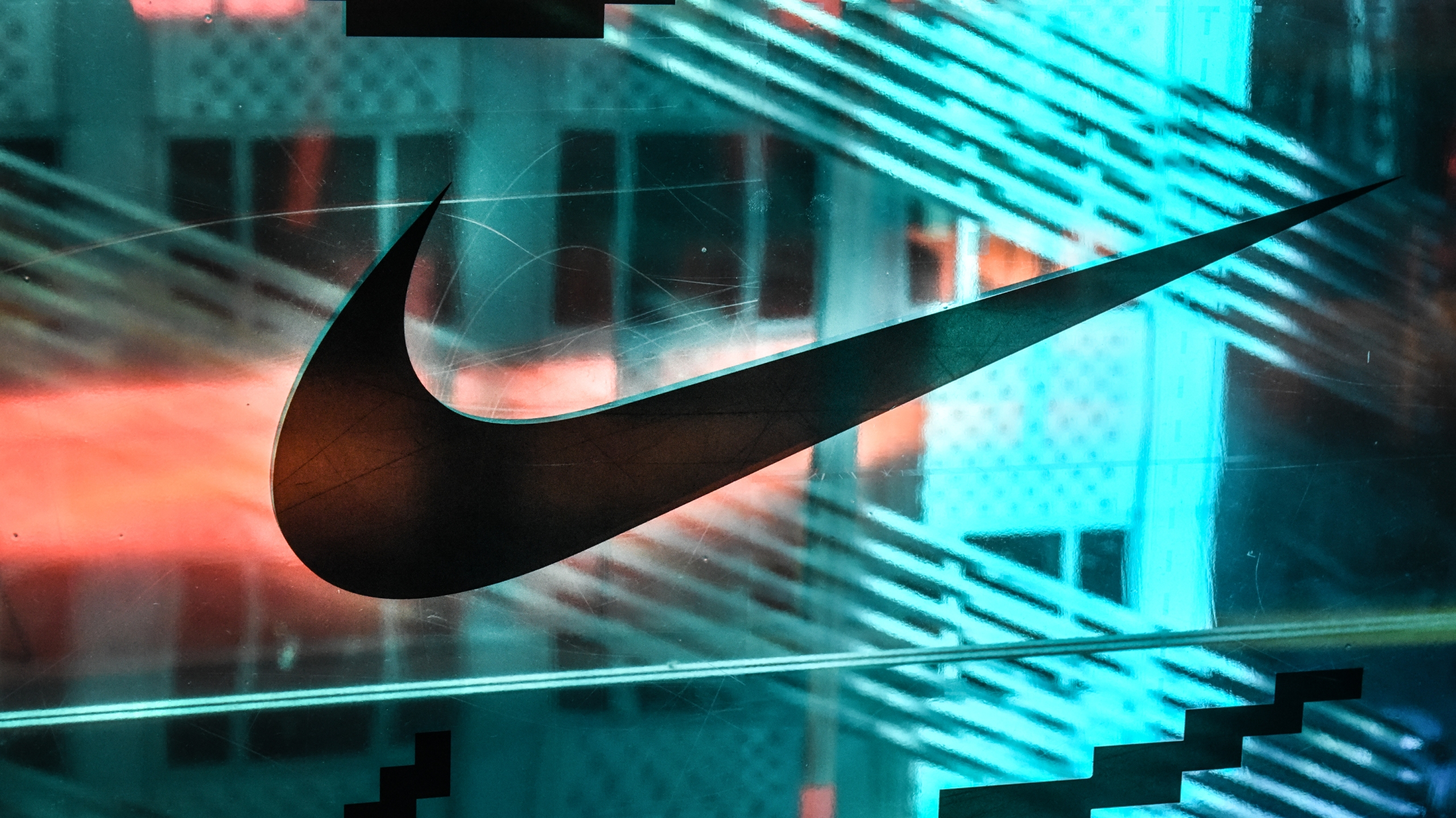 A Nike logo is seen at the Nike flagship store on 5th Avenue on Dec. 20, 2019 in New York City. (Stephanie Keith/Getty Images)