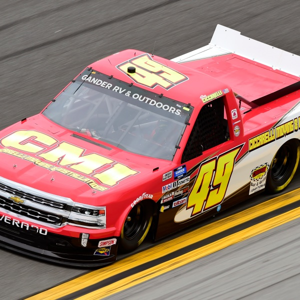 Ray Ciccarelli, driver of the #49 CMI Motorsports Chevrolet, qualifies for the NASCAR Gander RV & Outdoors Truck Series NextEra Energy 250 at Daytona International Speedway on February 14, 2020 in Daytona Beach, Florida. (Jared C. Tilton/Getty Images)