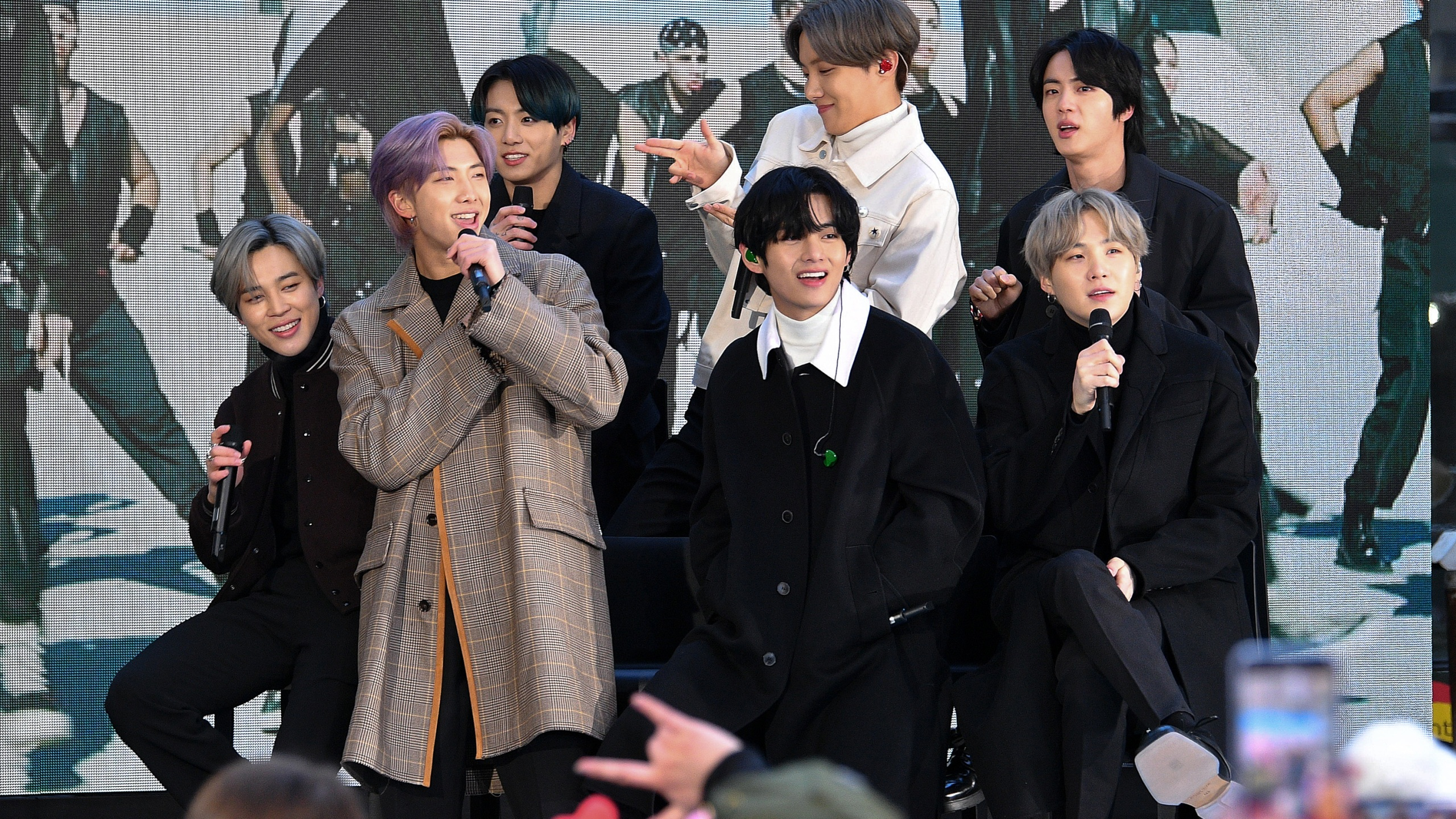 "From left: Jimin, RM, Jungkook, V, J-Hope, Jin, and SUGA of the K-pop boy band BTS visit the ""Today"" show in New York City on Feb. 21, 2020. (Dia Dipasupil / Getty Images)"