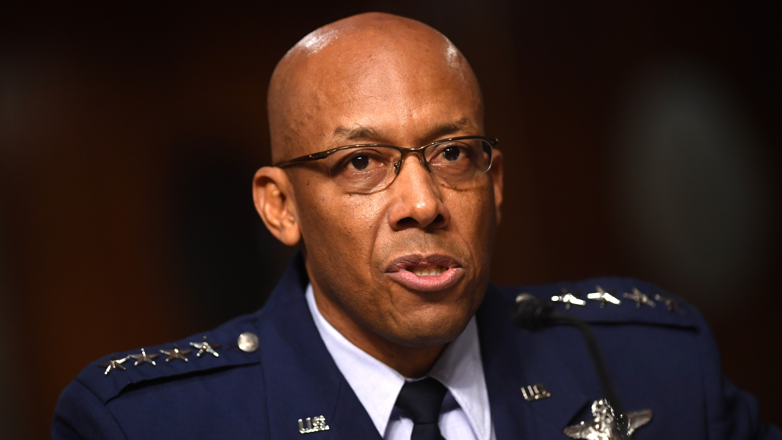 Gen. Charles Q. Brown, Jr., nominated for reappointment as Chief Of Staff of the U.S. Air Force, testifies during a Senate Armed Services hearing on May 7, 2020. (Kevin Dietsch-Pool/Getty Images)