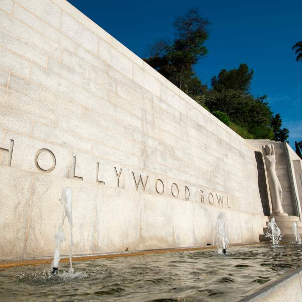 The entrance to the Hollywood Bowl is seen on May 14, 2020. (VALERIE MACON/AFP via Getty Images)