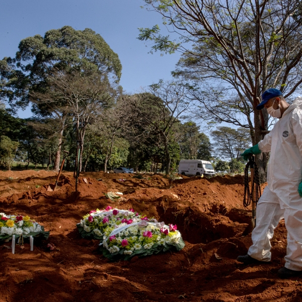 A burial at Vila Formosa Cemetery amidst the coronavirus pandemic on May 18, 2020, in Sao Paulo, Brazil. (Alexandre Schneider/Getty Images)