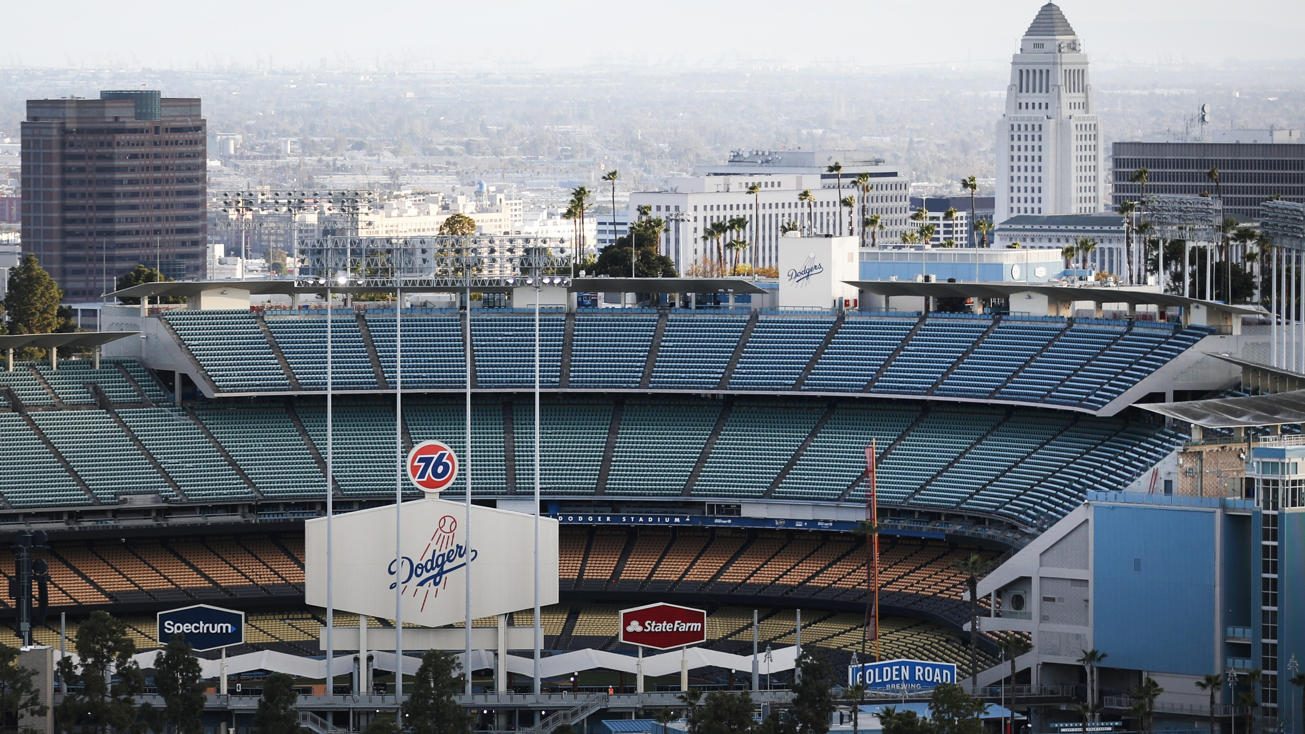 Dodger Stadium is viewed on what was supposed to be opening day, postponed due to the coronavirus, on March 26, 2020. (Mario Tama / Getty Images)