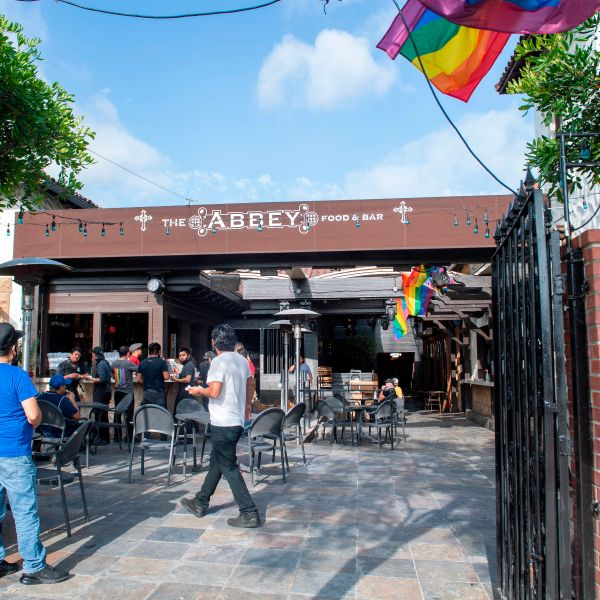 The Abbey in West Hollywood gets ready to reopen during on May 29, 2020, in West Hollywood. (VALERIE MACON/AFP via Getty Images)