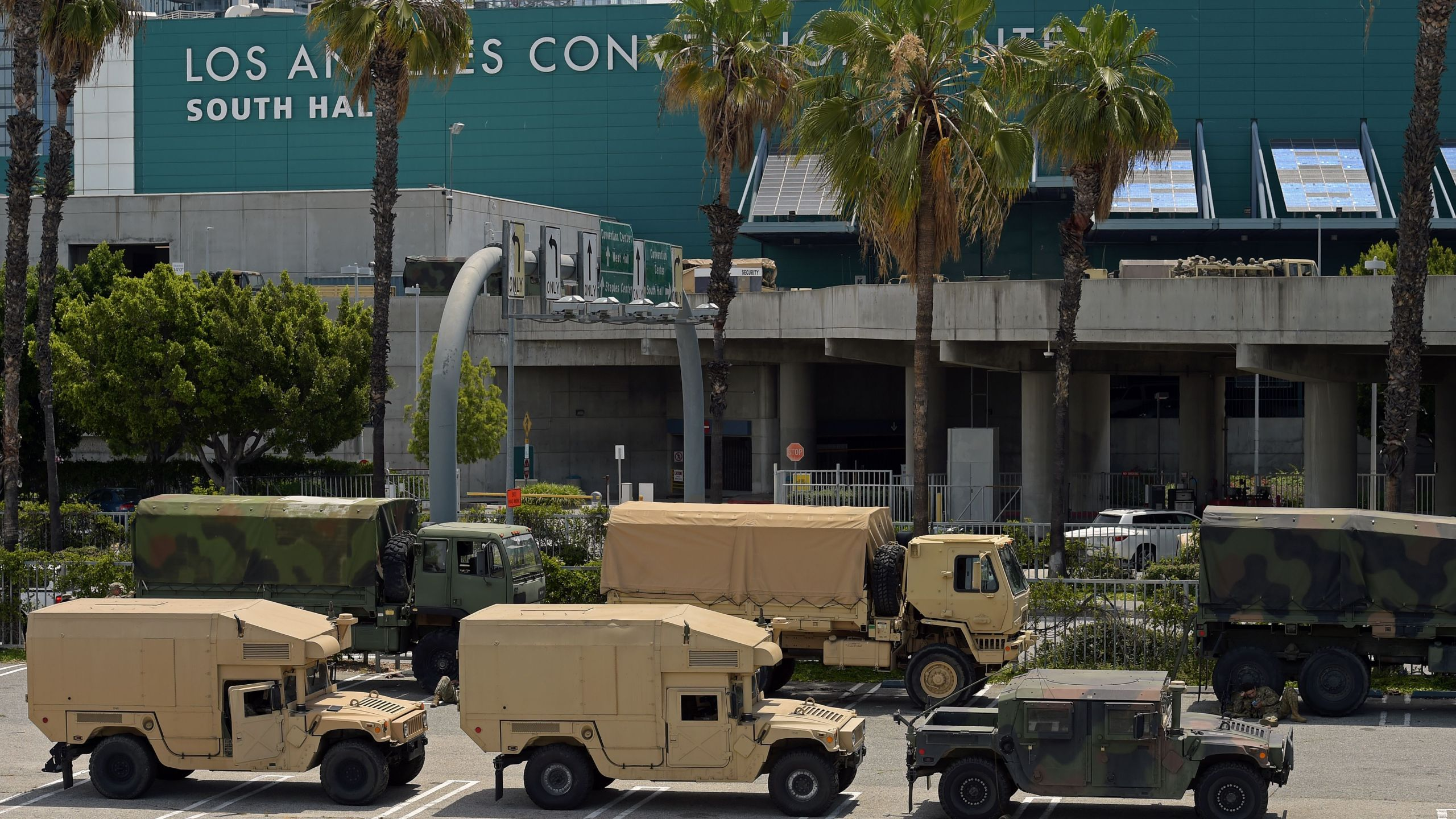 California National Guard vehicles are seen parked at the Los Angeles Convention Center on May 31, 2020. (AGUSTIN PAULLIER/AFP via Getty Images)