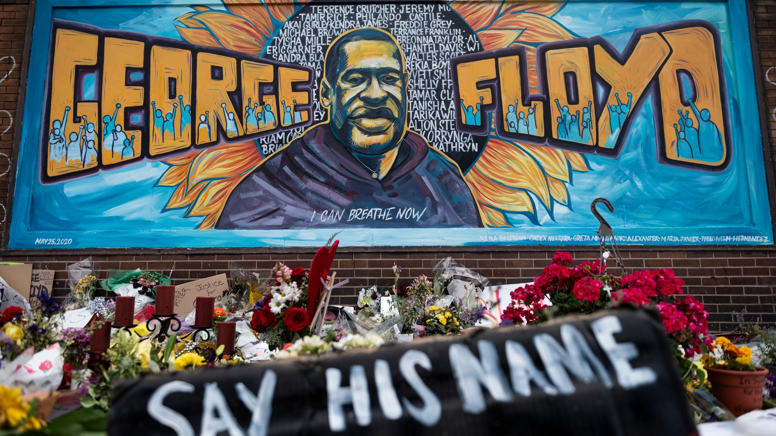 A memorial site where George Floyd died while in police custody on June 1, 2020 in Minneapolis, Minnesota. (Stephen Maturen/Getty Images)