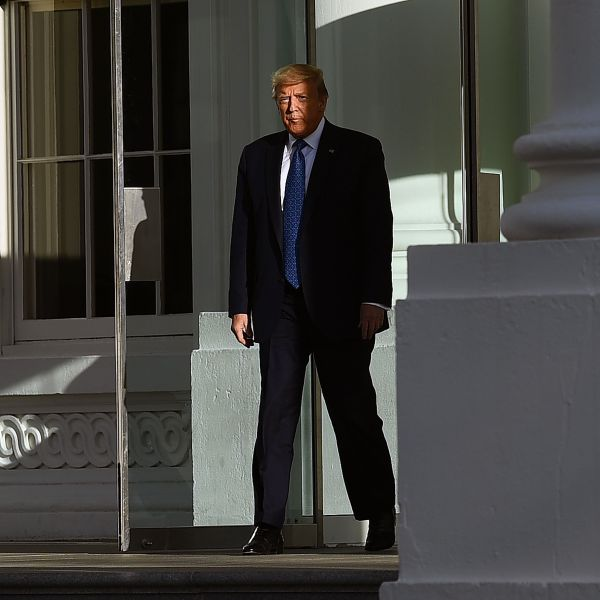 Donald Trump leaves the White House on foot to go to St John's Episcopal church across Lafayette Park in Washington, D.C. on June 1, 2020. (BRENDAN SMIALOWSKI/AFP via Getty Images)