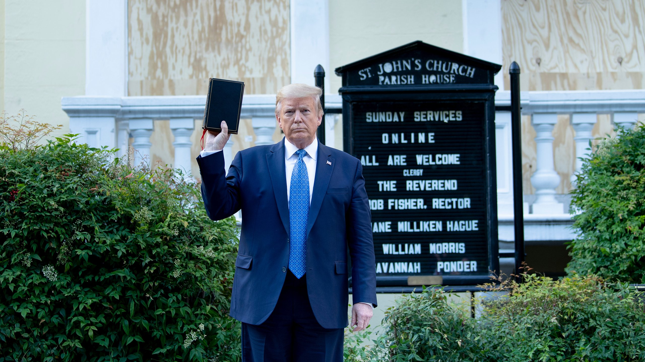 President Donald Trump holds a Bible while visiting St. John's Church across from the White House after the area was cleared of people protesting the death of George Floyd June 1, 2020, in Washington, D.C.(BRENDAN SMIALOWSKI/AFP via Getty Images)