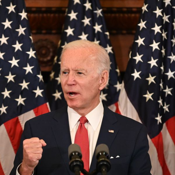 Democratic presidential candidate, and former Vice President Joe Biden speaks about the unrest across the country from Philadelphia City Hall on June 2, 2020. (JIM WATSON/AFP via Getty Images)