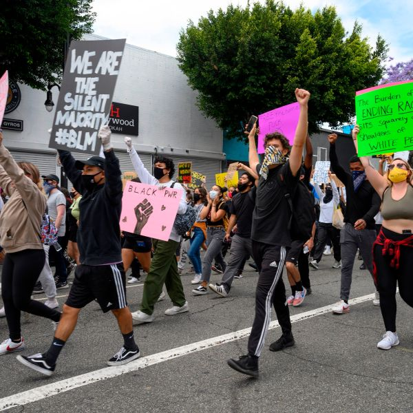 Demonstrators march through the streets of Hollywood on June 2, 2020 to protest the death of George Floyd at the hands of police. (ROBYN BECK/AFP via Getty Images)