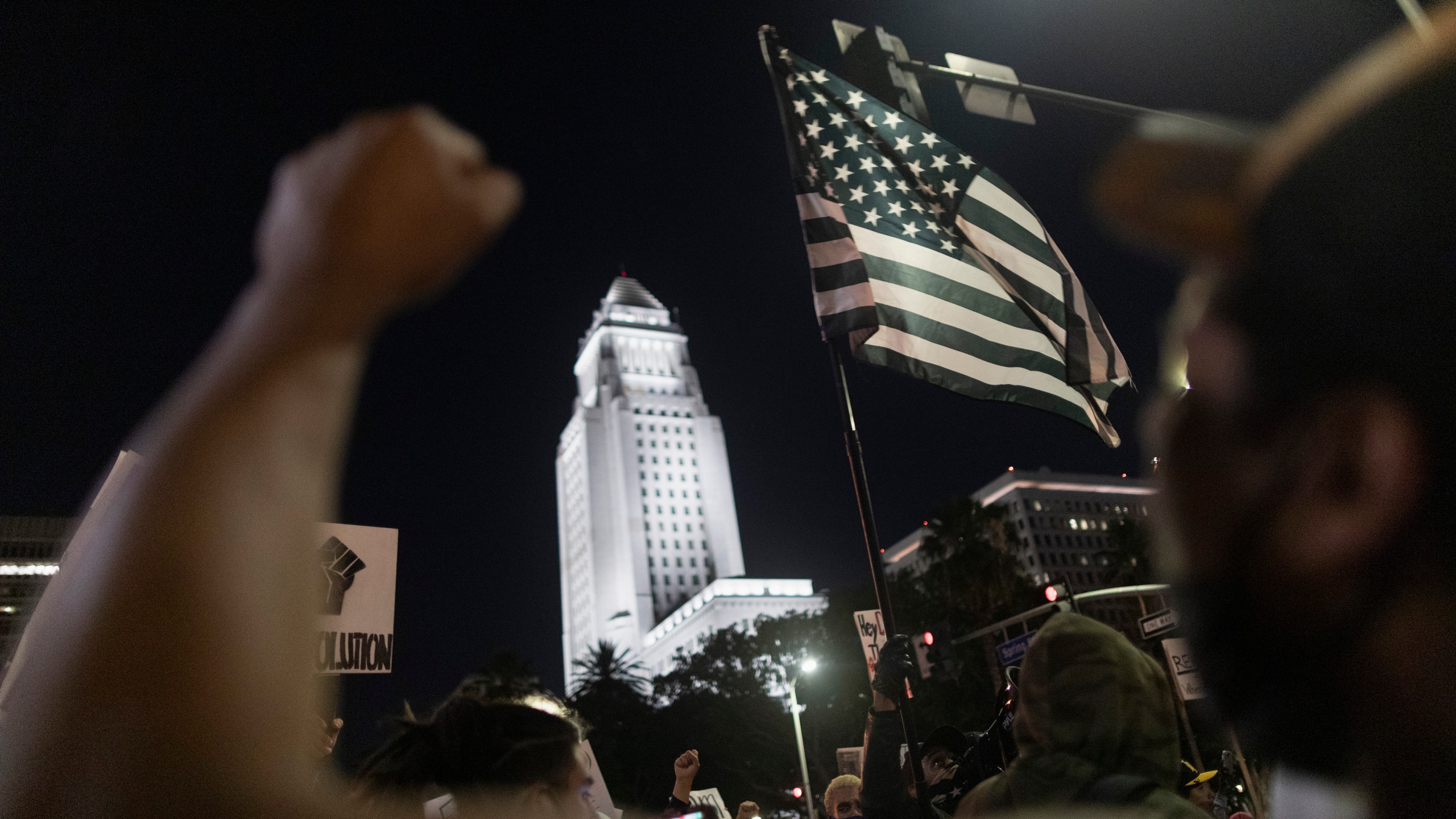 Racial justice protesters rally near Los Angeles City Hall on June 6, 2020. (David McNew / Getty Images)