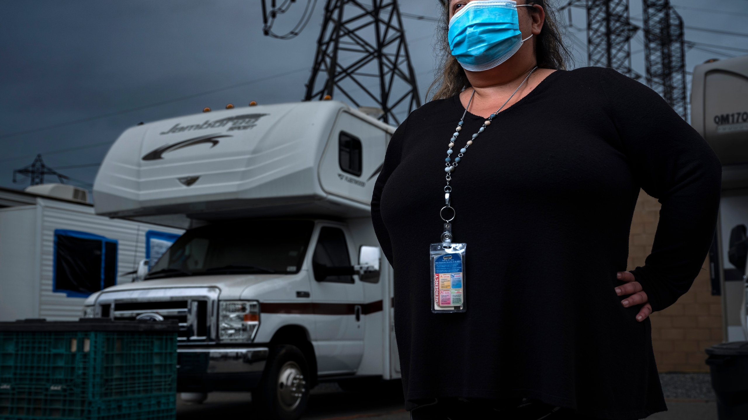 Sandra Nunez, a distribution operations system supervisor at Mira Loma grid management center, poses for a photograph on June 5, 2020 in Ontario. (Brent Stirton/Getty Images)