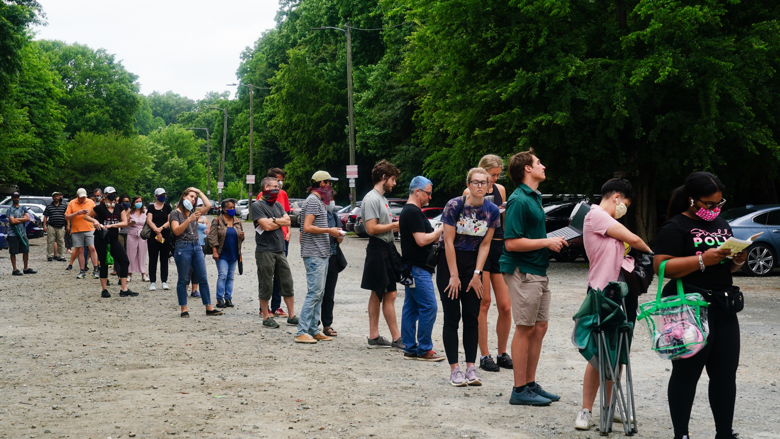 People wait in line to vote in Georgia's primary election on June 9, 2020, in Atlanta, Georgia. (Elijah Nouvelage/Getty Images)
