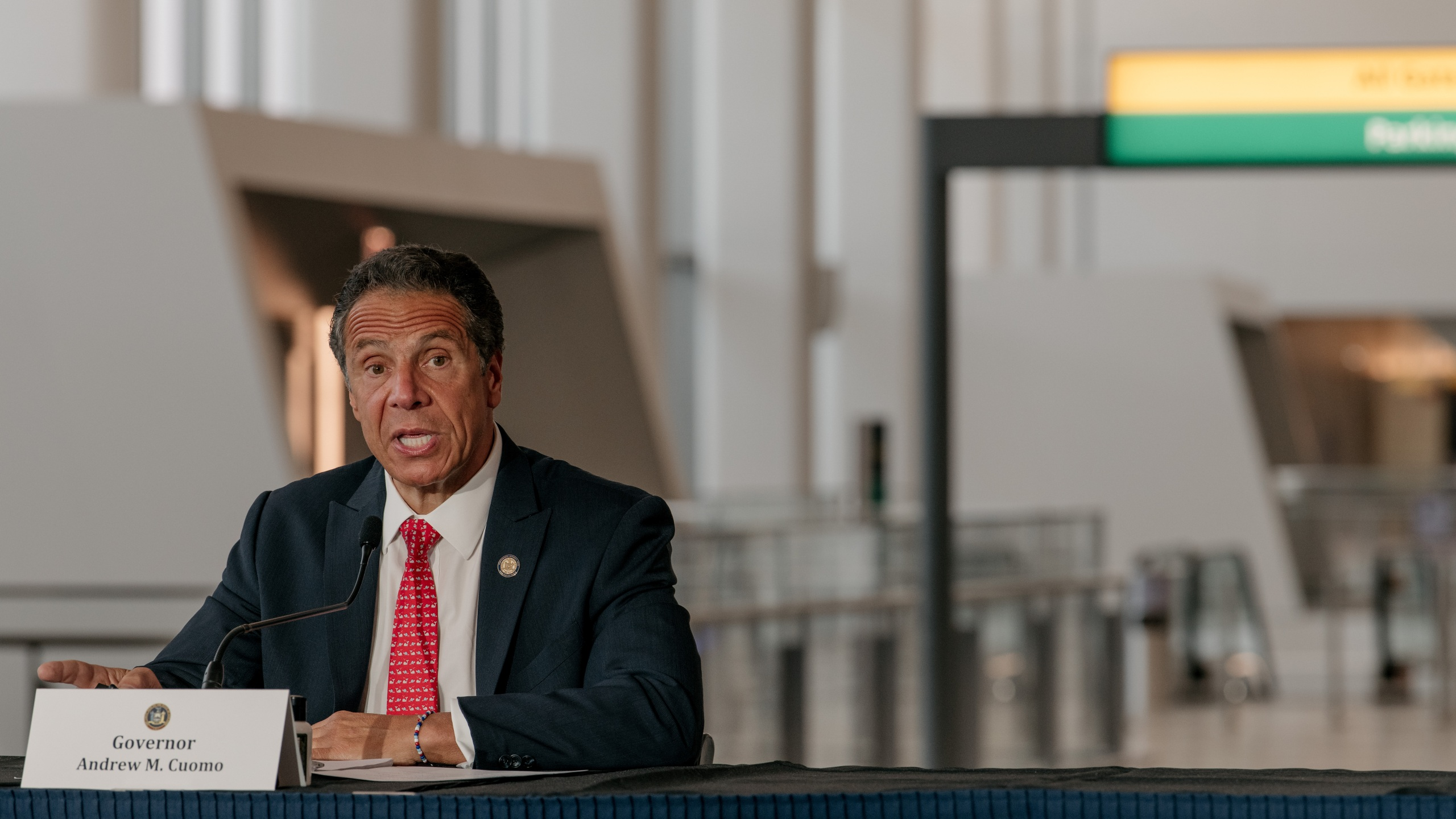 New York Gov. Andrew Cuomo speaks at a press conference held in LaGuardia Airport's new Terminal B on June 10, 2020 in New York City. (Scott Heins/Getty Images)