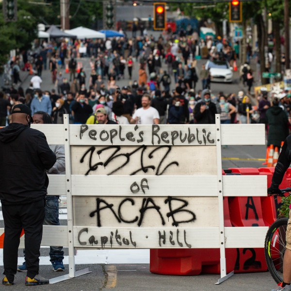 "A barricade is seen at an entrance to the ""Capitol Hill Autonomous Zone"" in Seattle on June 10, 2020. (David Ryder / Getty Images)"