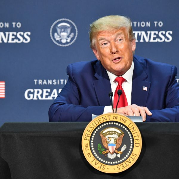 Donald Trump hosts a roundtable with faith leaders, law enforcement officials and small business owners at a church in Dallas on June 11, 2020. (Nicholas Kamm/AFP via Getty Images)
