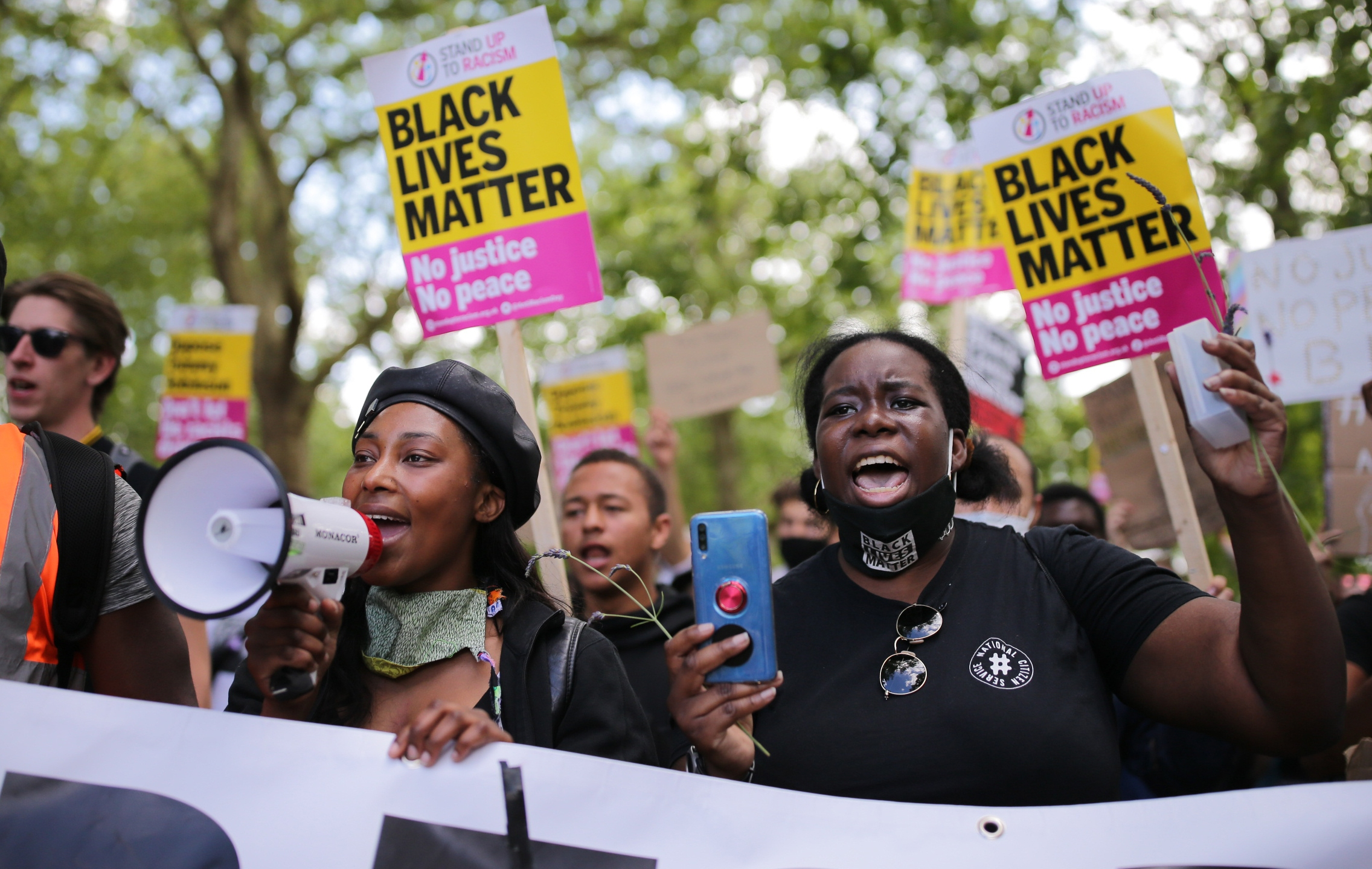 Anti-racism protesters attend a Black Lives Matter demonstration on June 13, 2020, in London, England. (Luke Dray/Getty Images)